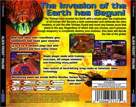Box back cover for Alien Front Online on the Sega Dreamcast.
