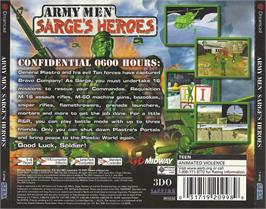 Box back cover for Army Men: Sarge's Heroes on the Sega Dreamcast.