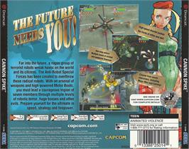 Box back cover for Cannon Spike on the Sega Dreamcast.
