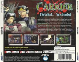 Box back cover for Carrier on the Sega Dreamcast.