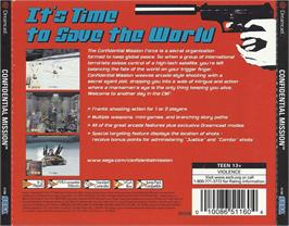 Box back cover for Confidential Mission on the Sega Dreamcast.