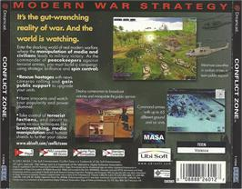 Box back cover for Conflict Zone: Modern War Strategy on the Sega Dreamcast.