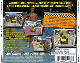 Box back cover for Crazy Taxi on the Sega Dreamcast.