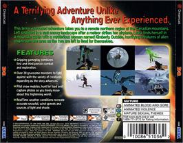 Box back cover for D2 on the Sega Dreamcast.