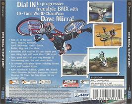 Box back cover for Dave Mirra Freestyle BMX on the Sega Dreamcast.