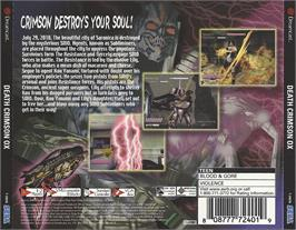 Box back cover for Death Crimson OX on the Sega Dreamcast.