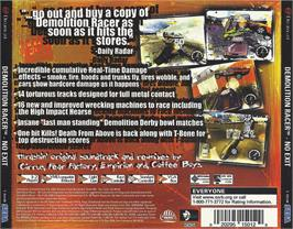 Box back cover for Demolition Racer: No Exit on the Sega Dreamcast.