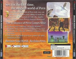 Box back cover for Dragonriders: Chronicles of Pern on the Sega Dreamcast.