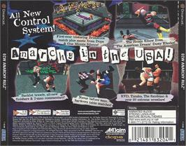 Box back cover for ECW Anarchy Rulz on the Sega Dreamcast.