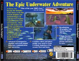 Box back cover for Ecco the Dolphin: Defender of the Future on the Sega Dreamcast.