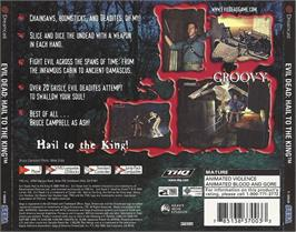 Box back cover for Evil Dead: Hail to the King on the Sega Dreamcast.