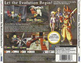 Box back cover for Evolution: The World of Sacred Device on the Sega Dreamcast.