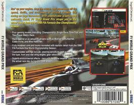 Box back cover for F1 World Grand Prix on the Sega Dreamcast.