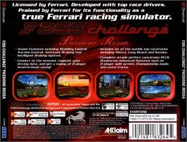 Box back cover for F355 Challenge on the Sega Dreamcast.