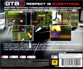 Box back cover for Grand Theft Auto 2 on the Sega Dreamcast.