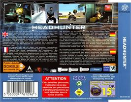 Box back cover for Headhunter on the Sega Dreamcast.