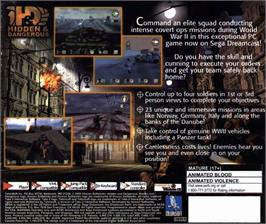 Box back cover for Hidden & Dangerous on the Sega Dreamcast.