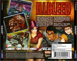 Box back cover for Illbleed on the Sega Dreamcast.
