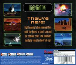 Box back cover for Incoming on the Sega Dreamcast.