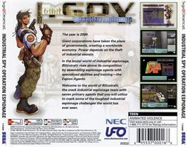 Box back cover for Industrial Spy: Operation Espionage on the Sega Dreamcast.