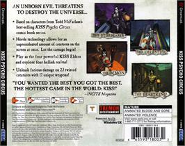 Box back cover for Kiss: Psycho Circus - The Nightmare Child on the Sega Dreamcast.