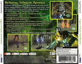 Box back cover for Legacy of Kain: Soul Reaver on the Sega Dreamcast.