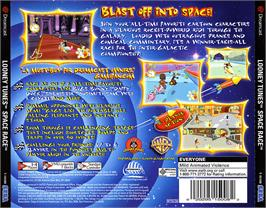 Box back cover for Looney Tunes Space Race on the Sega Dreamcast.