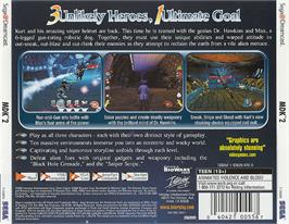 Box back cover for MDK2 on the Sega Dreamcast.