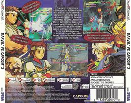 Box back cover for Marvel vs. Capcom 2: New Age of Heroes on the Sega Dreamcast.