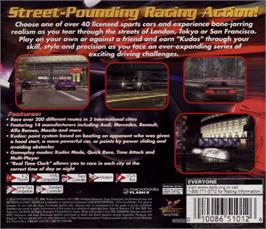 Box back cover for Metropolis Street Racer on the Sega Dreamcast.