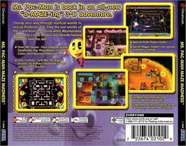 Box back cover for Ms. Pac-Man Maze Madness on the Sega Dreamcast.