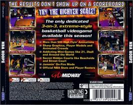 Box back cover for NBA Hoopz on the Sega Dreamcast.