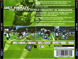 Box back cover for NFL 2K1 on the Sega Dreamcast.