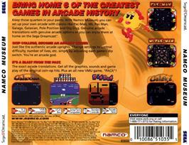 Box back cover for Namco Museum on the Sega Dreamcast.