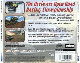 Box back cover for Need for Speed: V-Rally 2 on the Sega Dreamcast.
