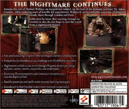 Box back cover for Nightmare Creatures 2 on the Sega Dreamcast.