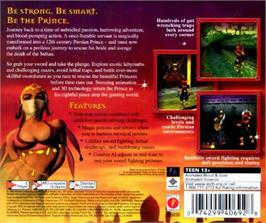 Box back cover for Prince of Persia: Arabian Nights on the Sega Dreamcast.