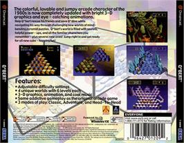 Box back cover for Q*bert on the Sega Dreamcast.