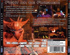 Box back cover for Quake III: Arena on the Sega Dreamcast.