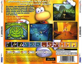 Box back cover for Rayman 2: The Great Escape on the Sega Dreamcast.