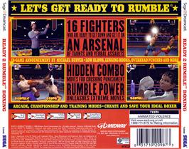 Box back cover for Ready 2 Rumble Boxing on the Sega Dreamcast.
