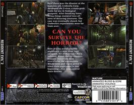 Box back cover for Resident Evil 2 on the Sega Dreamcast.