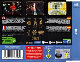 Box back cover for Rez on the Sega Dreamcast.
