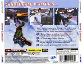 Box back cover for Rippin' Riders Snowboarding on the Sega Dreamcast.
