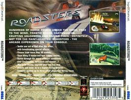 Box back cover for Roadsters on the Sega Dreamcast.
