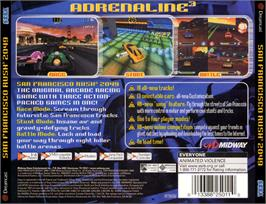 Box back cover for San Francisco Rush 2049 on the Sega Dreamcast.