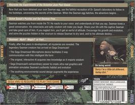 Box back cover for Seaman on the Sega Dreamcast.