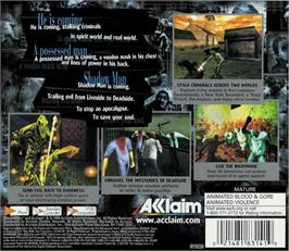 Box back cover for Shadow Man on the Sega Dreamcast.