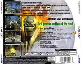 Box back cover for Slave Zero on the Sega Dreamcast.