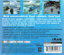 Box back cover for Sno-Cross Championship Racing on the Sega Dreamcast.